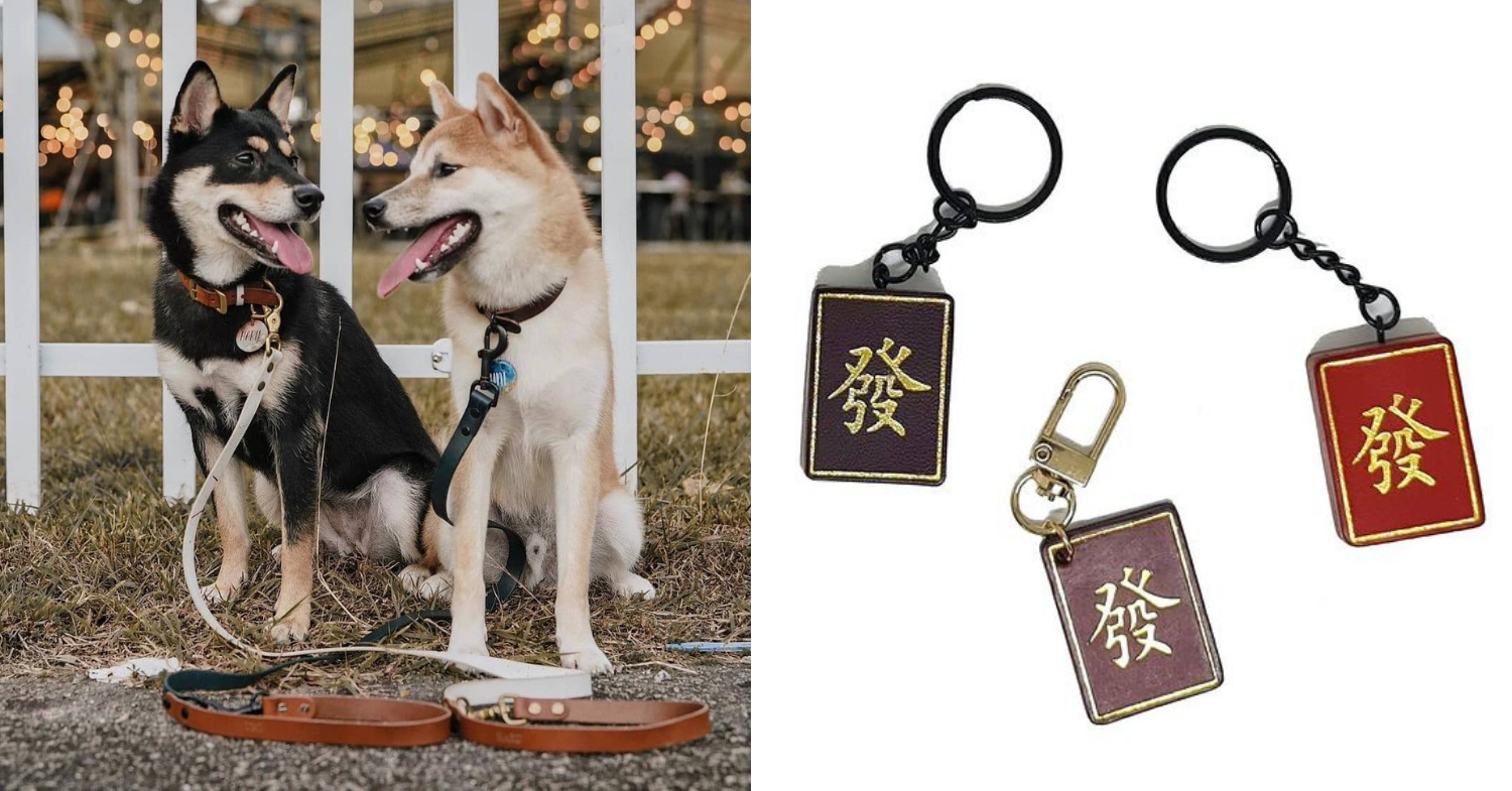 Pet accessories Singapore - Rein leather leash and mah jong tiles