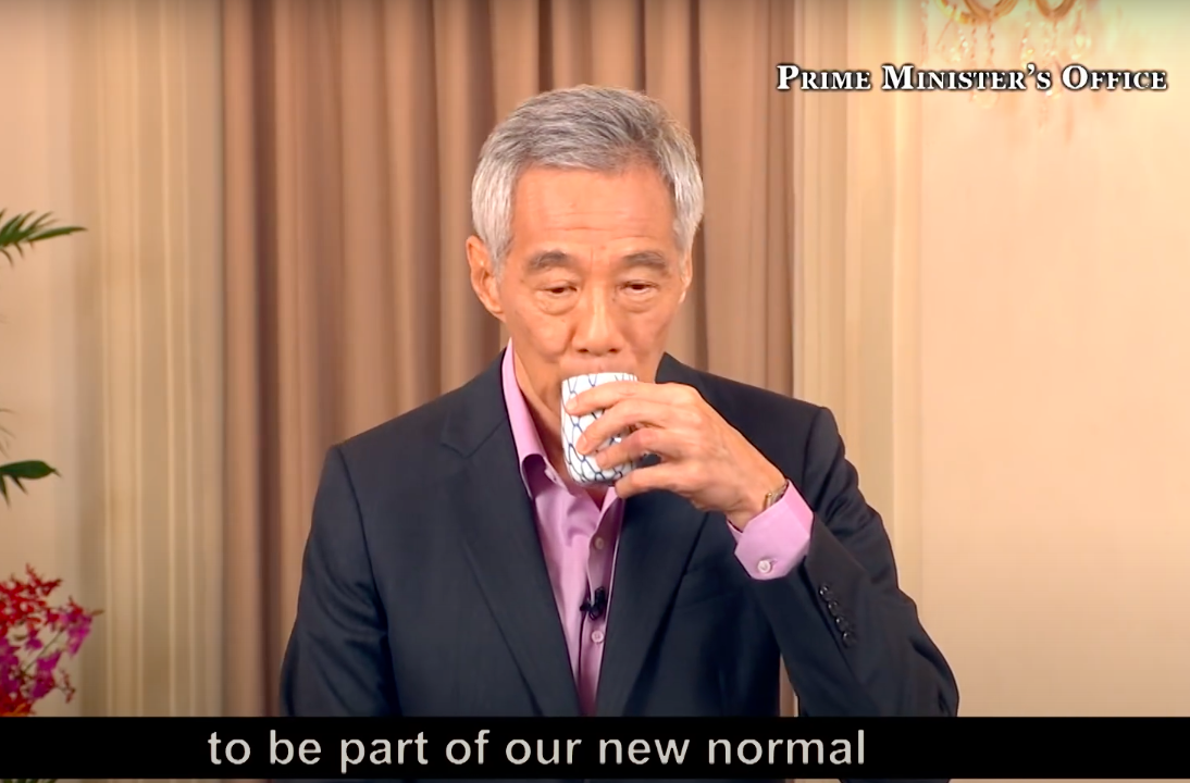 singapore pm lee Hsien loong drinks from tea cup