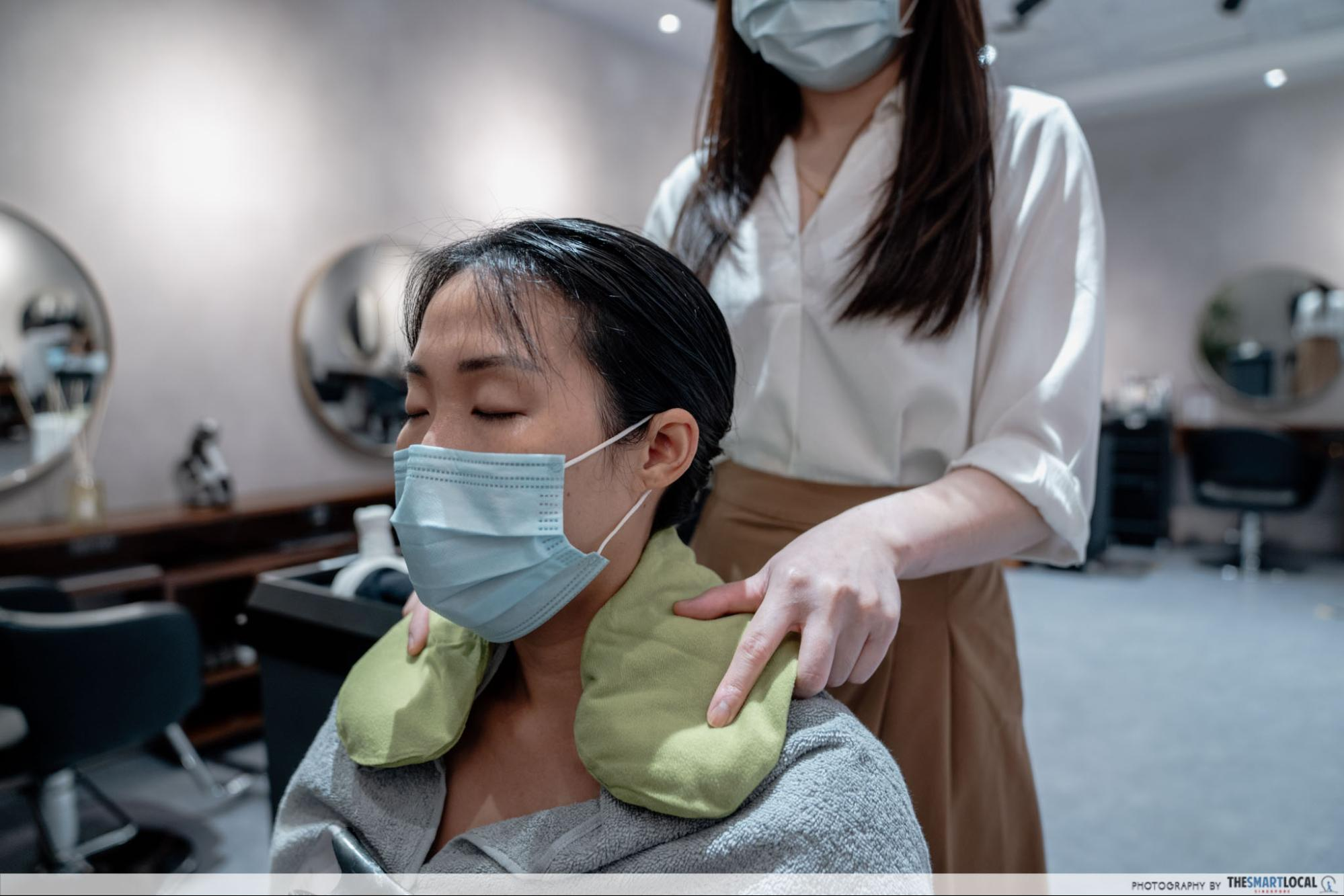Chez Vous HideAway Ngee Ann City Hair Salon With Free Spa Perks - Hot compress