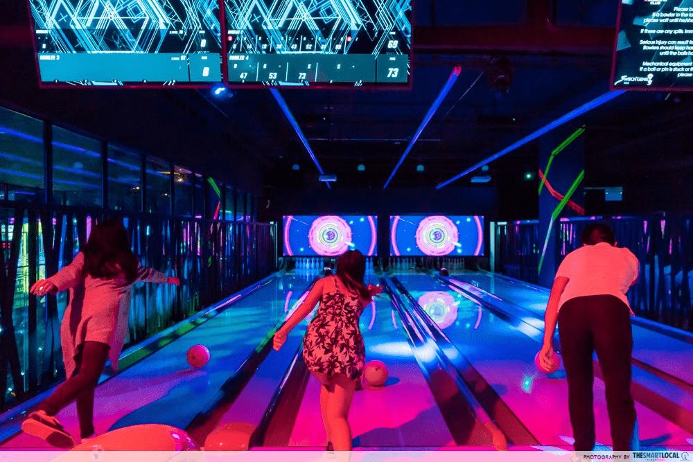 late night date ideas - cosmic bowling