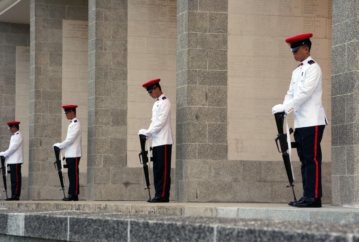 remembrance day kranji war memorial columns parade
