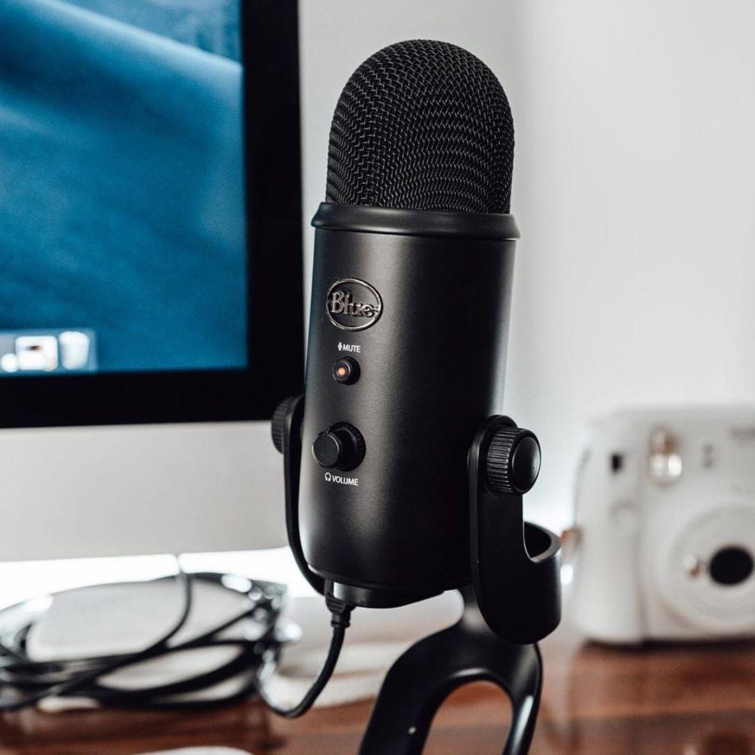 usb microphones singapore - blue yeti condenser microphone black stand
