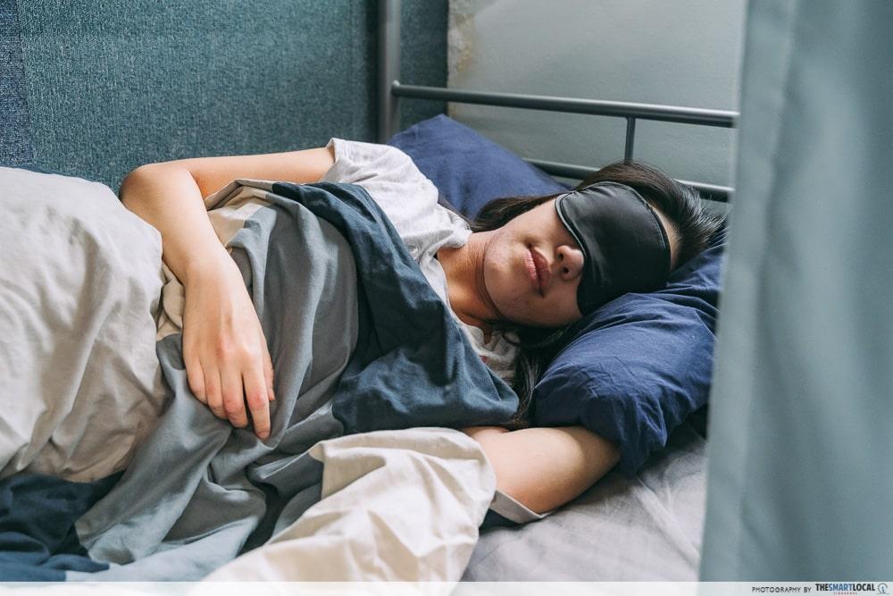 Sleeping with eye mask