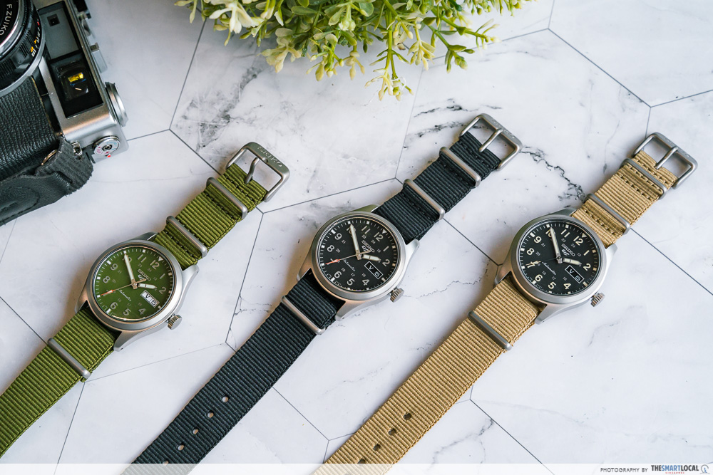 seiko 5 sports watch in different colours