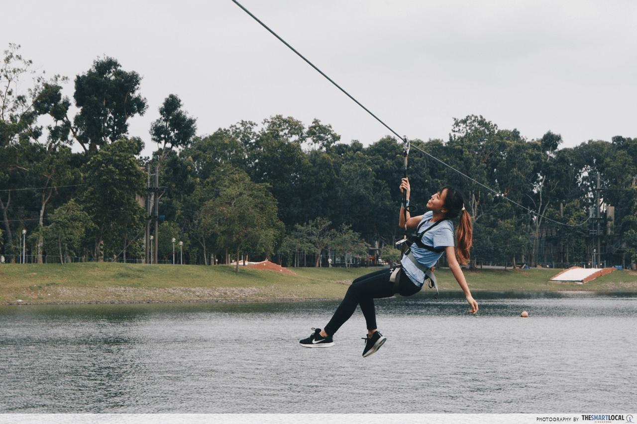 Ziplining at Bedok Reservoir Forest Adventure