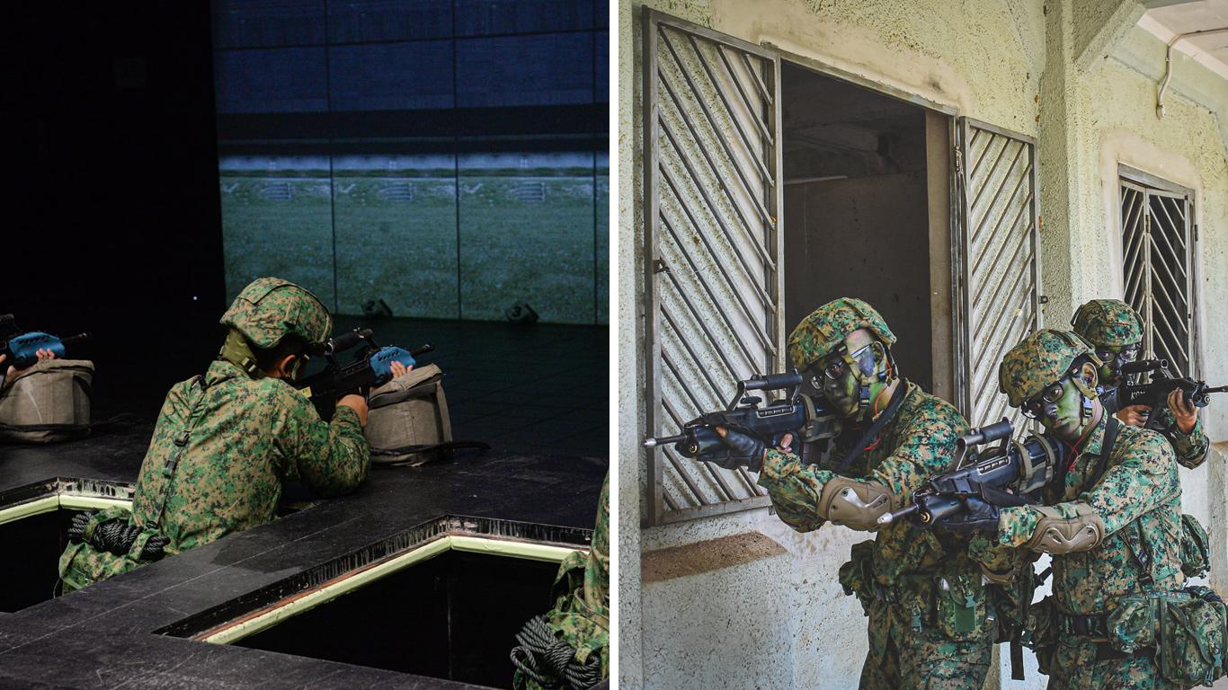 SAF training facilities shooting simulator and built up combat