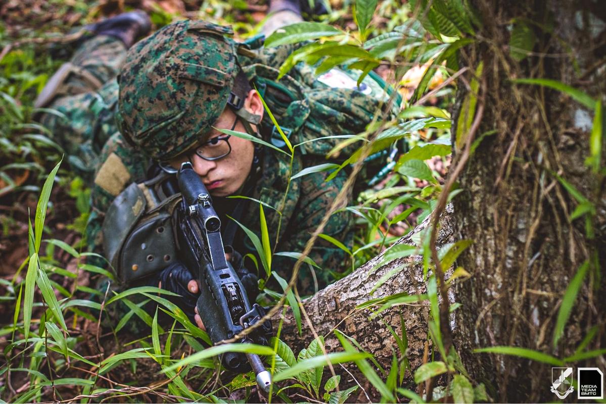 SAF soldier prone