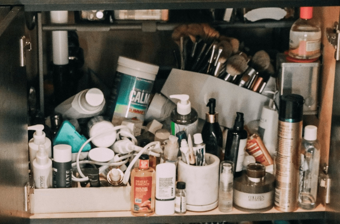 Overcrowded Cabinet Beauty Products
