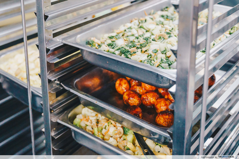 food in trays
