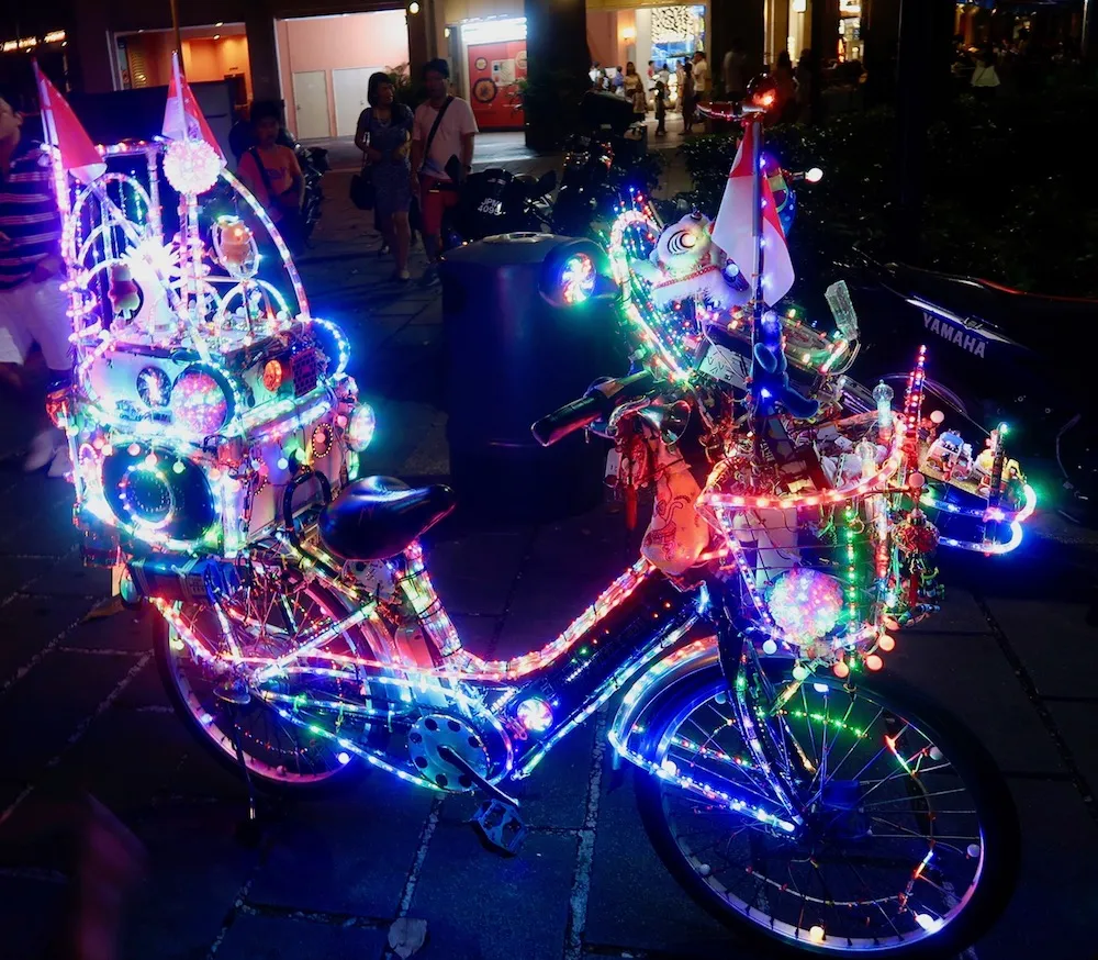 cycling rules in singapore - colourful LED bicycle singapore uncle