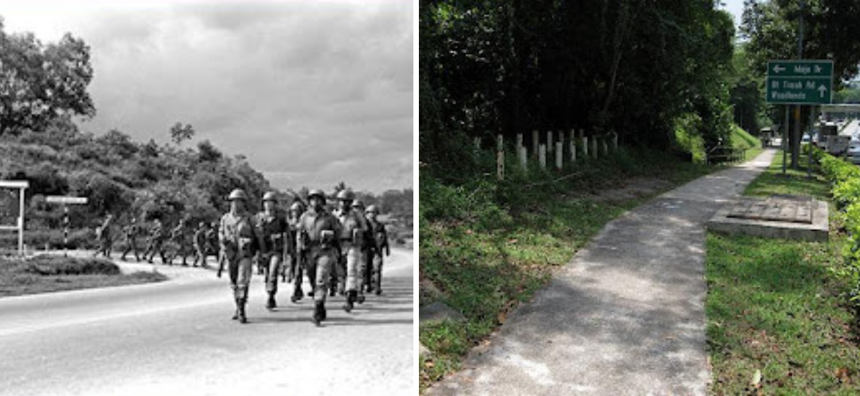 Maju Forest history Old Maju Camp and PDF troops marching along Lorong Gaung