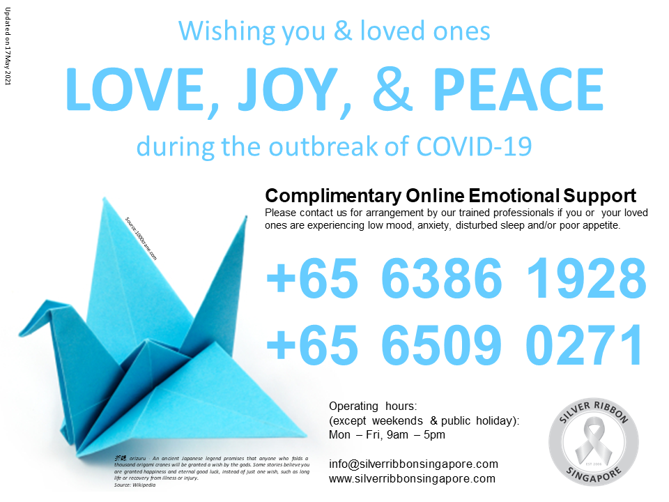 mental health services and hotlines - silver ribbon singapore