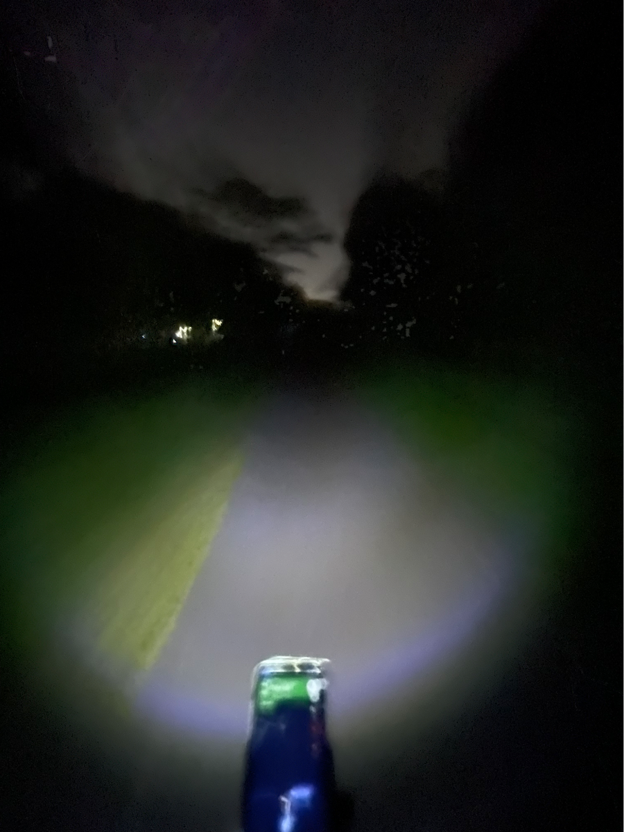riding in the pitch black along the rail corridor