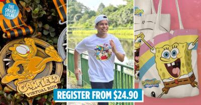 garfield, shinchan, spongebob virtual run