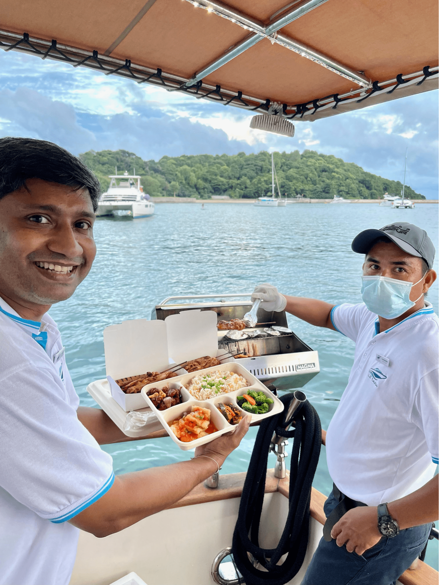 bbq dinner on a boat
