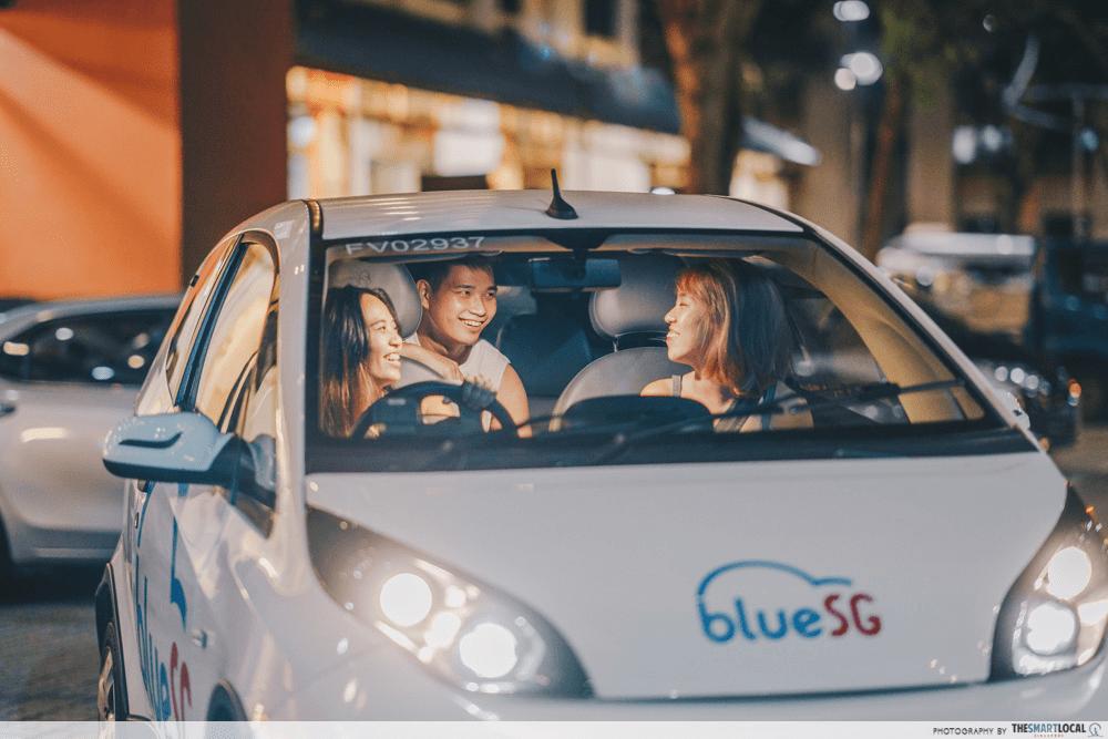 BlueSG car ride friends