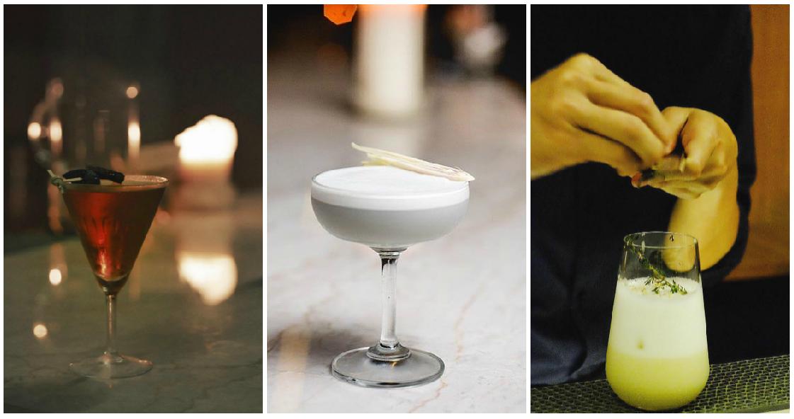 Ku Bar - Rose, soy/Black sesame, Lychee cocktails